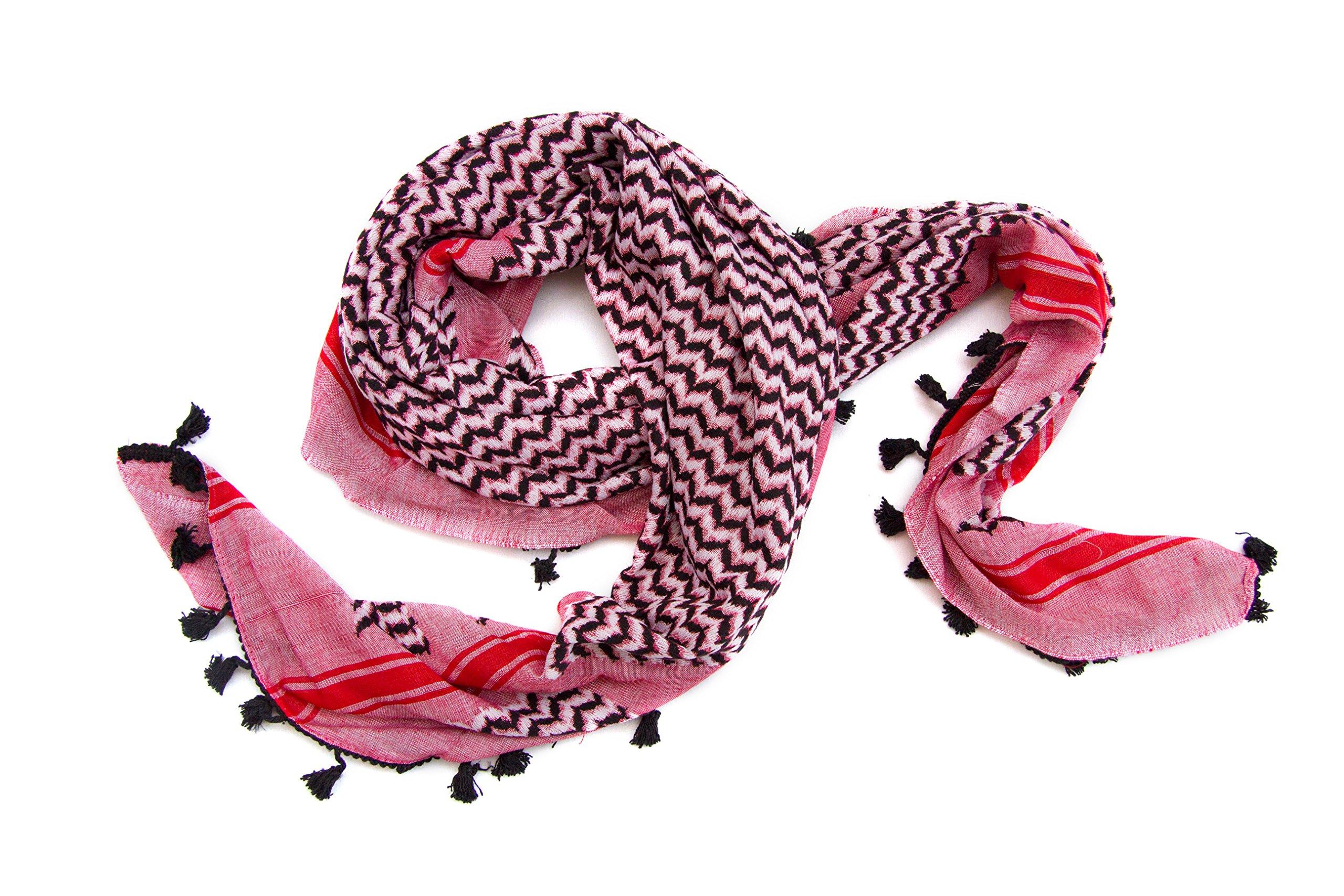 Hirbawi Premium Arabic Scarf 100% Cotton Shemagh Keffiyeh 47''x47'' Arab Scarf (Pink Zahra) Made in Palestine by Hirbawi (Image #3)