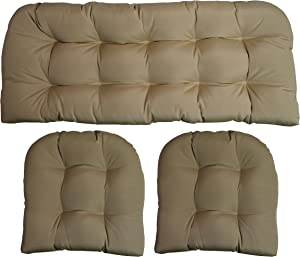 RSH DECOR Sunbrella Canvas Antique Beige 3 Piece Wicker Cushion Set - Indoor/Outdoor Wicker Loveseat Settee & 2 Matching Chair Cushions
