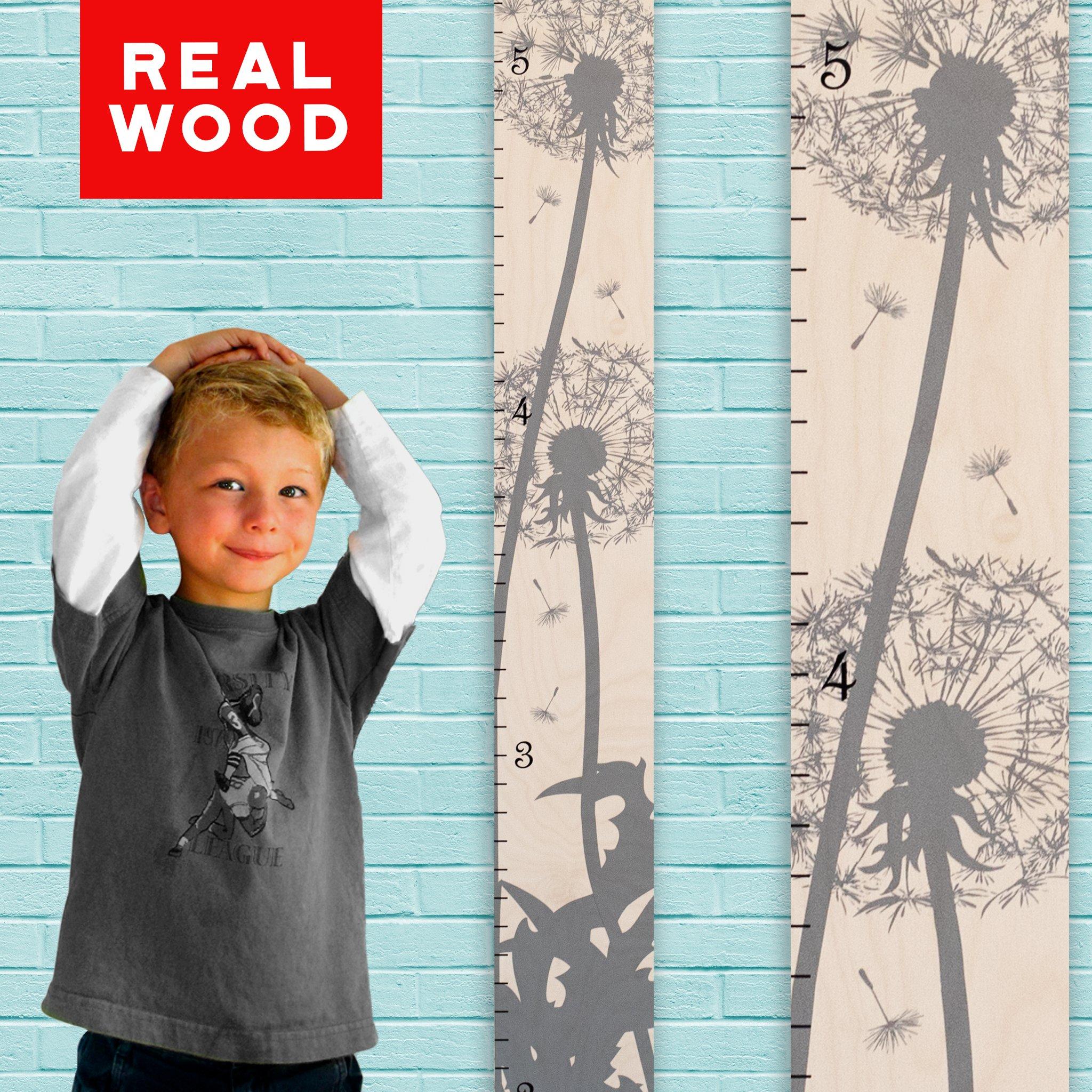 Growth Chart Art | Wooden Growth Chart Girls + Boys | Measuring Kids Height Wall Décor | Flower Growth Chart Ruler | Gray Dandelion Flower Height Chart by Growth Chart Art
