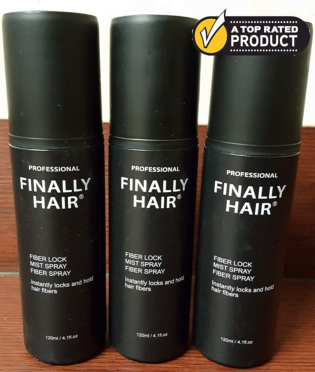 Hair Building Fiber STRONG Fiber Lock Hair Spray 3 Pack by Finally Hair (can be used with competitors fibers like Toppik, Xfusion, Strand, Cuuva, Efficient, Fibrex, Bosley) Finally Hair Corporation