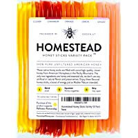 Homestead Flavored Honey Sticks (50 Pack), 5 Flavors Include Clover, Cinnamon, Orange...