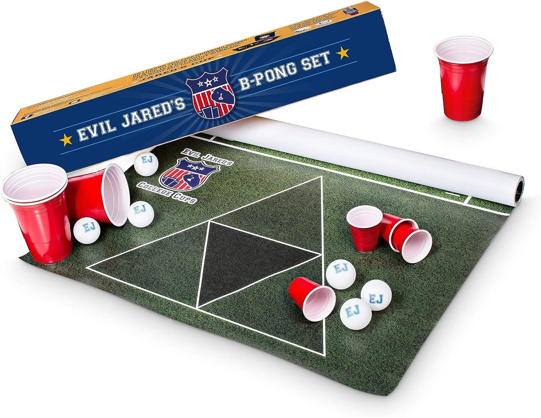 Mantel para Juego de Beer Pong Evil Jared´s | 60 Vasos Rojos + 6 Pelotas de Ping Pong | Diseño Campo de Fútbol Americano | 180 x 60 cm: Amazon.es: Juguetes y juegos