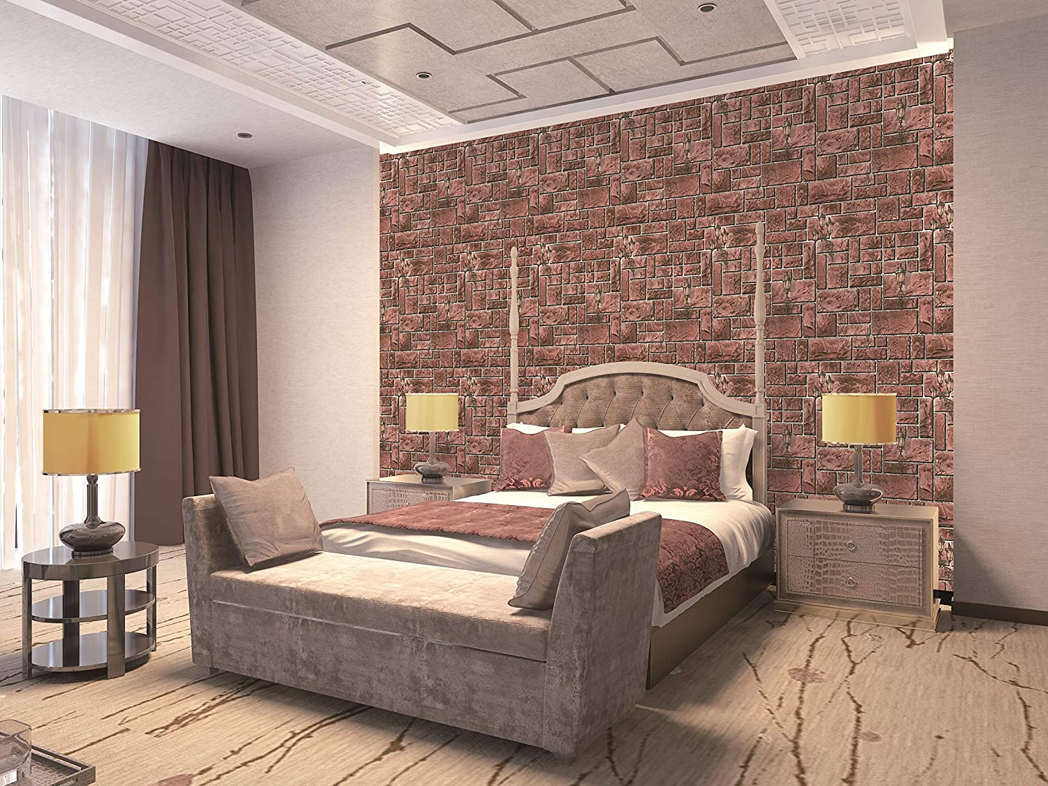 Buy Eurotex 3D Brick Stone Design Wallpaper, use as Wall ...