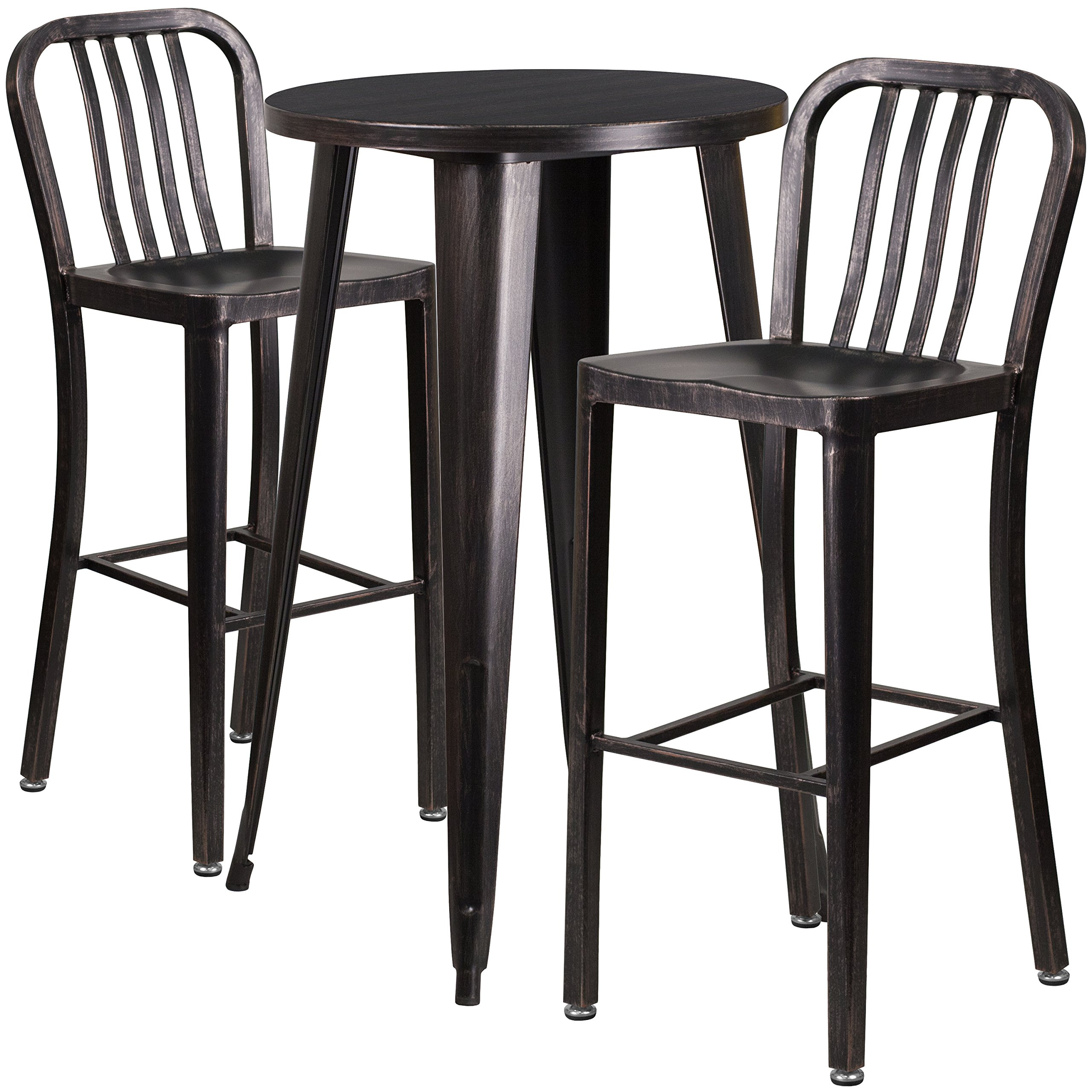 Flash Furniture 24'' Round Black-Antique Gold Metal Indoor-Outdoor Bar Table Set with 2 Vertical Slat Back Stools