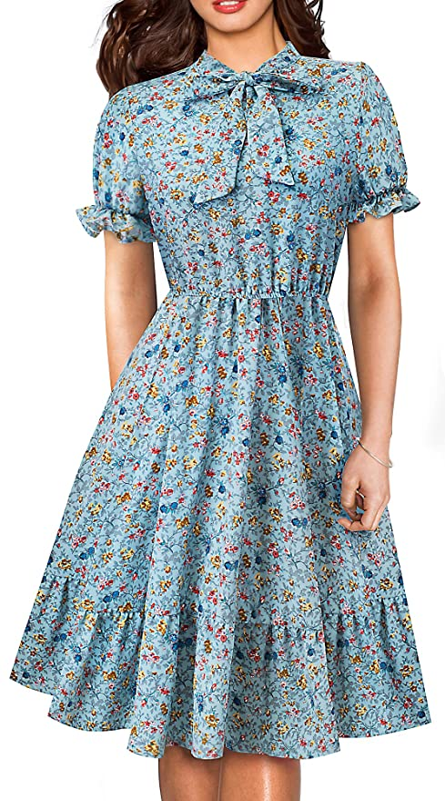 1940s Dresses | 40s Dress, Swing Dress HOMEYEE Womens Long Sleeve Casual Polka Dot Aline Swing Dress A130  AT vintagedancer.com