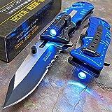 TAC Force Blue Police Assisted Open LED Tactical Rescue Pocket Knife