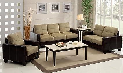 Furniture Of America Nappa 3 Piece Microfiber Sofa Set, Dark Taupe