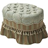 Jennifer Taylor Home Toby Collection Traditional Hand Tufted Cord and Trim Tassels With Skirt Oval Ottoman, Sea Foam Green