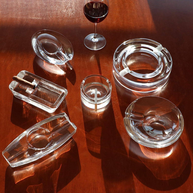 int/érieur Bureau h/ôtel Restaurant ext/érieur Piscine Fait /à la Main Round Large Maison PASABAHCE Cendrier en Verre de Cristal Lourd pour Patio
