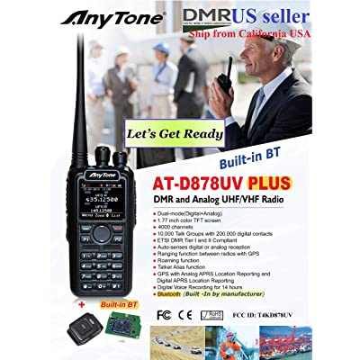 AnyTone AT-D878 Plus GPS with Built-in Bluetooth and Free Items !! Updated firmware Upgraded 3100mAh Battery Dual Band DMR/Analog 144 & 480 MHz Radio: Car Electronics