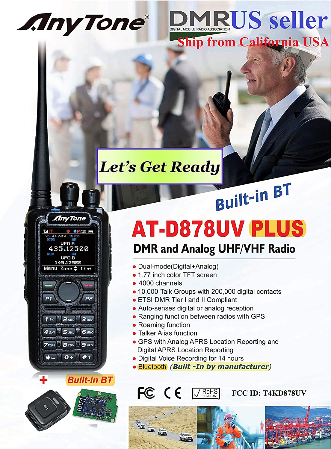 AnyTone AT-D878 Plus GPS with Built-in Bluetooth