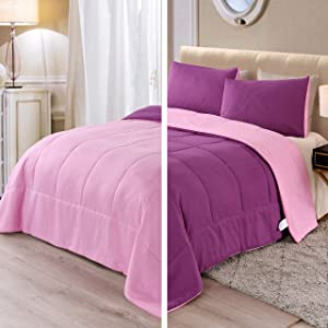 Exclusivo Mezcla Lightweight Reversible 3-Piece Comforter Set for All Seasons, Down Alternative Comforter with 2 Pillow Shams, Queen Size, Purple Pink