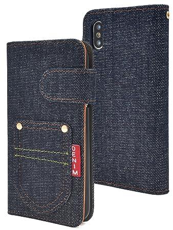2aa0e4a49c PLATA iPhone X/Xs ケース 手帳型 デニム デザイン ジーンズ 手帳 カバー カード ポケット付