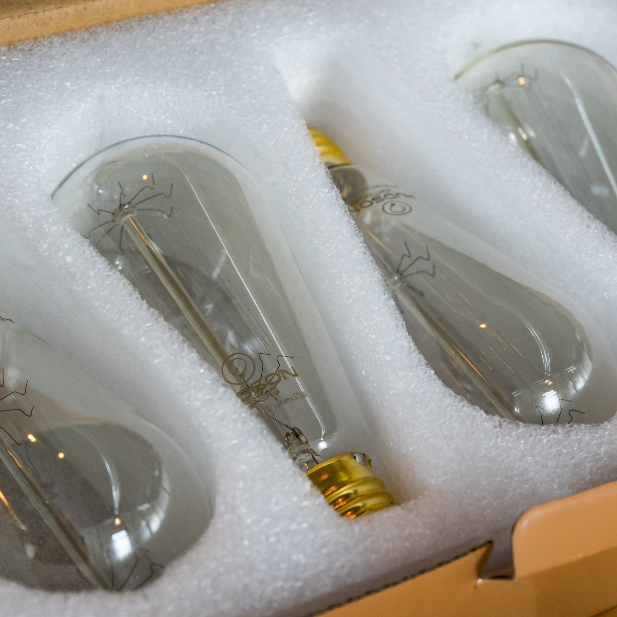 Vintage Incandescent Edison Bulb Set: 60 Watt, 2100K Warm White Edison Light Bulbs - E26 Base - 230 Lumens - Clear Glass - Dimmable Antique Exposed Filament - ST58 Decorative Lightbulbs - 4 Pack by HUDSON LIGHTING (Image #6)