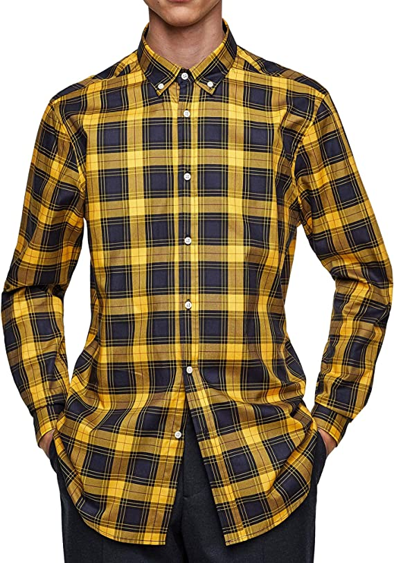 Zara 6608/425 - Camiseta de Cuadros para Hombre - Amarillo ...