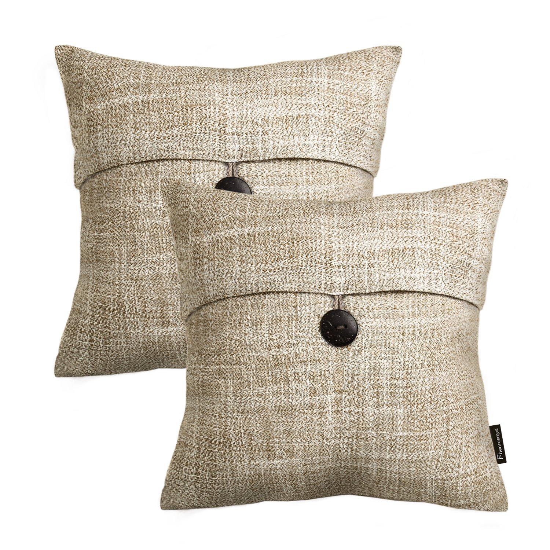 PHANTOSCOPE Set of 2 Button Beige Linen Decorative Throw Pillow Case Cushion Cover 18''X18'' -New!!