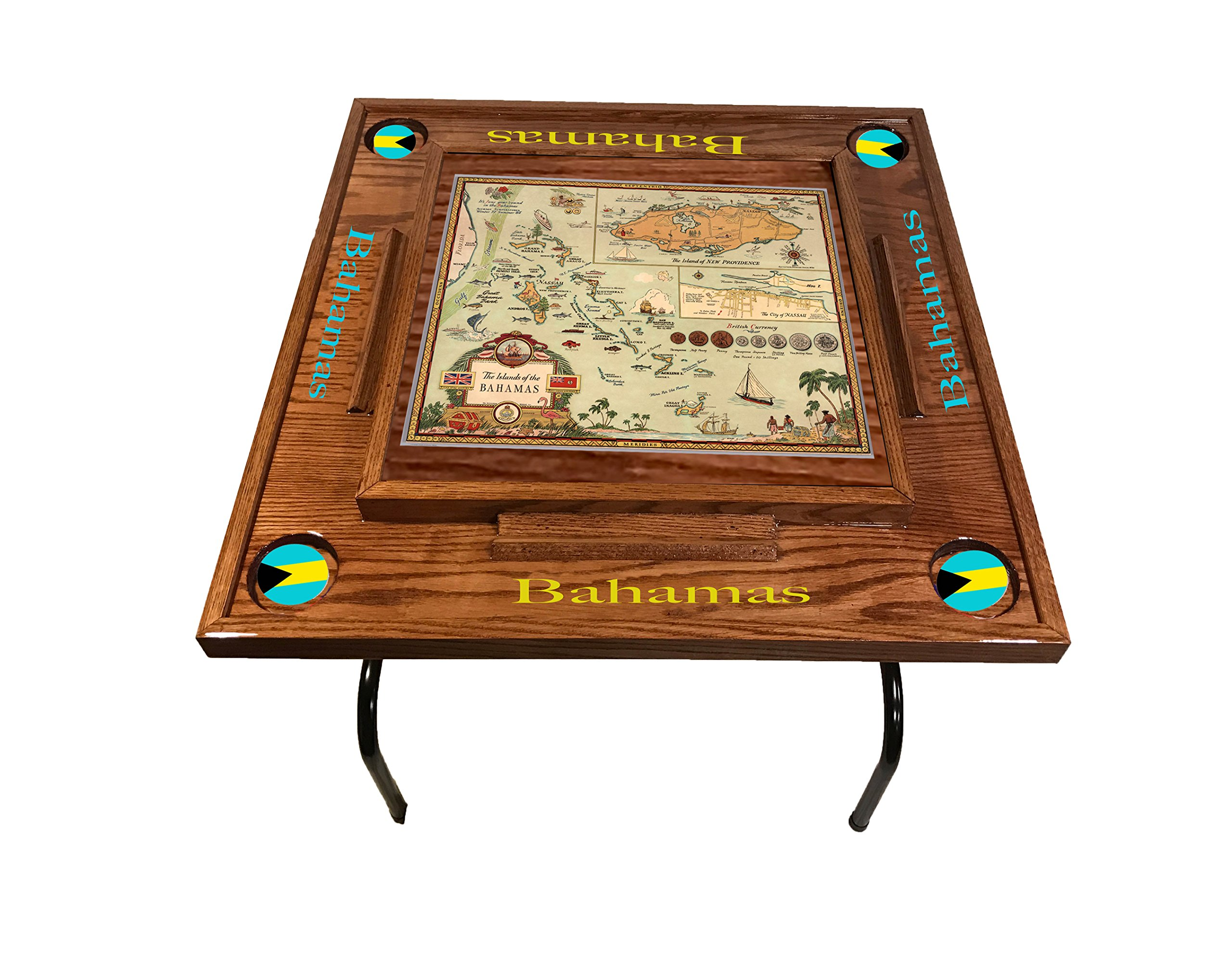 Bahama Domino Table With the map (Red Mahogany)