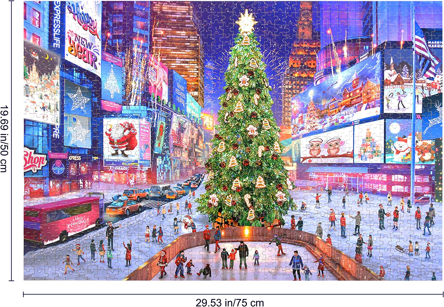 1000 Piece Difficulty Jigsaw Puzzle Times Square Colourful Mini Educational Toy