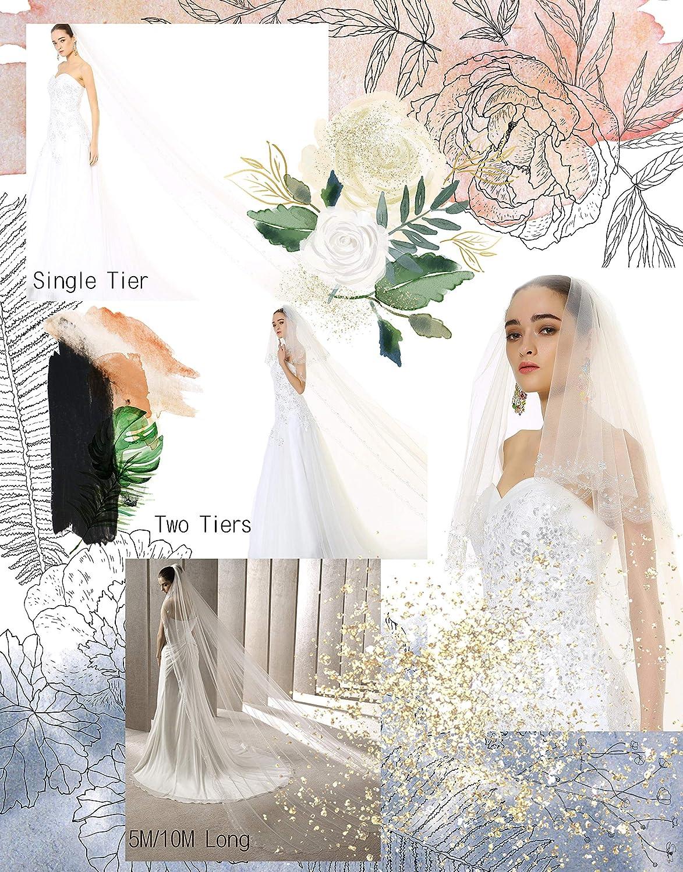 Floral Beaded Scallop Chapel Bridal Veils Crystals Cathedral Wedding Veil 224 Passat 1T//2T New