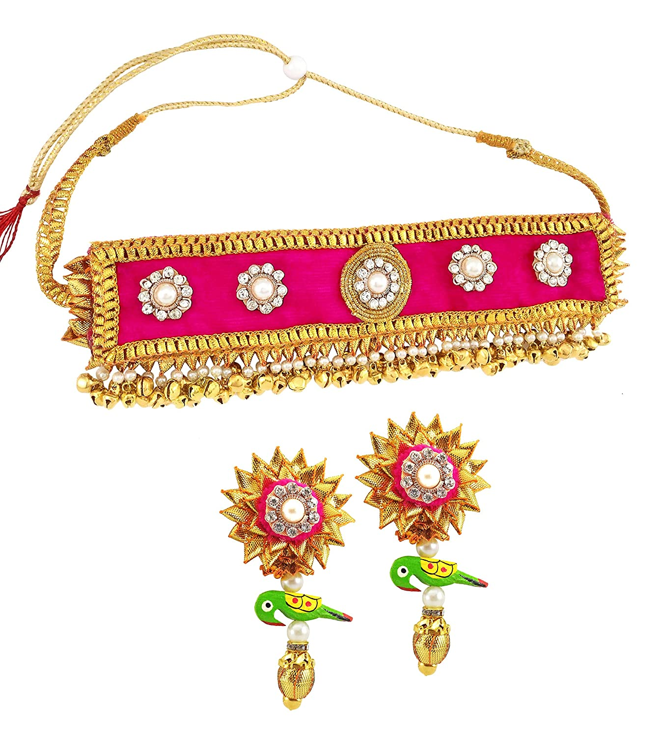 Bridal & Wedding Party Jewelry Search For Flights Indian Fashion Wedding Jewelry Earrings Necklace Gold Bridal Traditional Set Skilful Manufacture