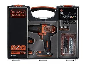 91jza6SVgiL. SL300  Black & Decker BDCHD18BOA QW, trapano avvitatore con doppia batteria da 18 V +160 accessori