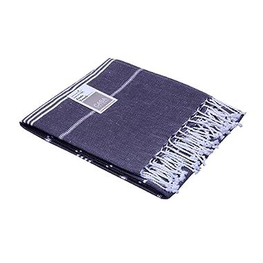 Peshtemal Turkish Towel 39 x 71 Inches, Gray, Oversized Bath Towel, Picnic, Camping, Beach, Yoga, Pilates, 100% Cotton, Highly Absorbent By CASA DECORS