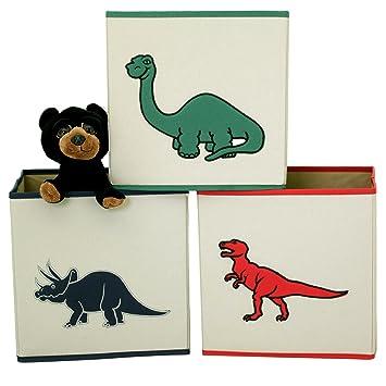 Dinosaur Cube Storage Bins Toy Organizers Trex Triceratops   3 Pieces Nice Design