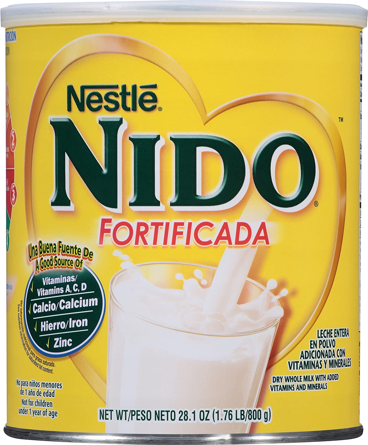 Amazon.com : NESTLE NIDO Fortificada Dry Milk 28.1 Ounce. Canister : Powdered Milk : Grocery & Gourmet Food