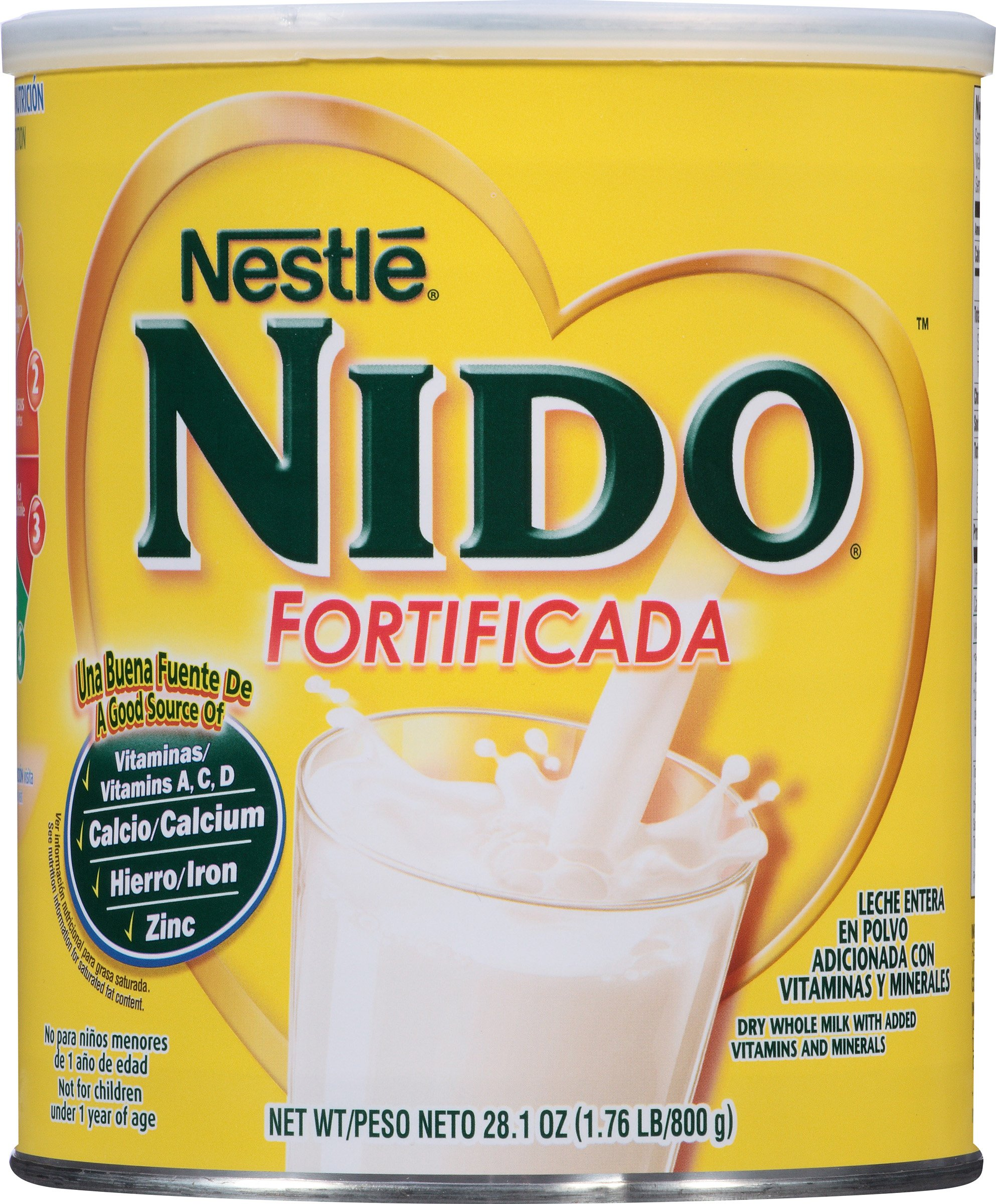 NESTLE NIDO Fortificada Dry Milk 28.1 Ounce. Canister by Nido