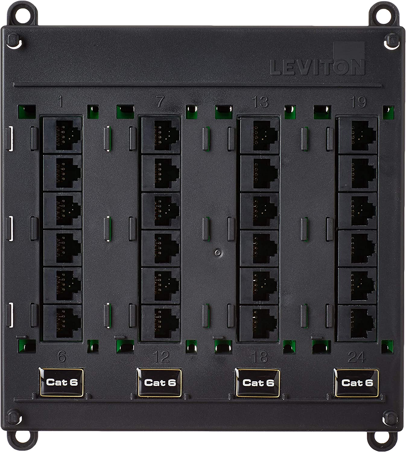Leviton 476TM-624 Twist and Mount Patch Panel, 24 CAT 6 Ports