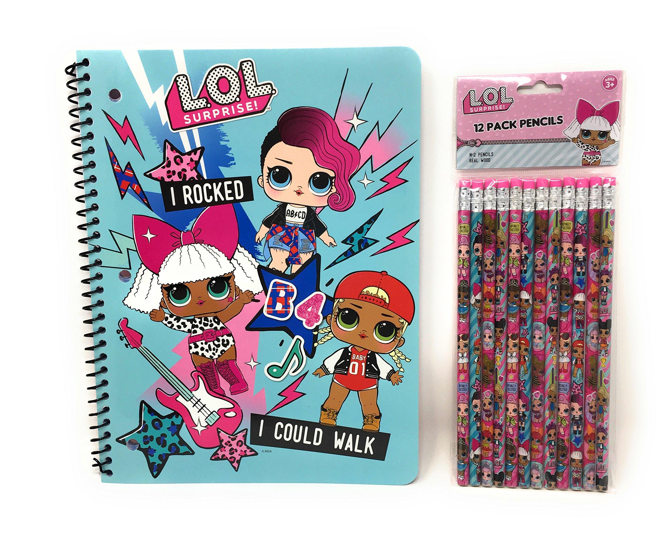 L.O.L. Surprise! School Supplies Spiral Notebook and Pencils-2 Piece Set