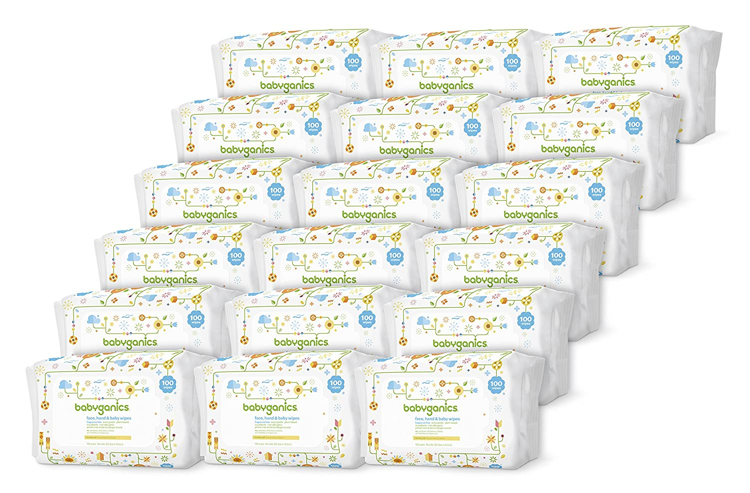 Babyganics Face, Hand and Baby Wipes, Fragrance Free, 400-Count (Contains Four 100-Count Packs), Packaging May Vary 1341