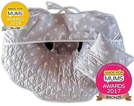 Único 4 en 1 Premium algodón enfermería almohada con Free Mini almohada y bebé arnés plateado plata