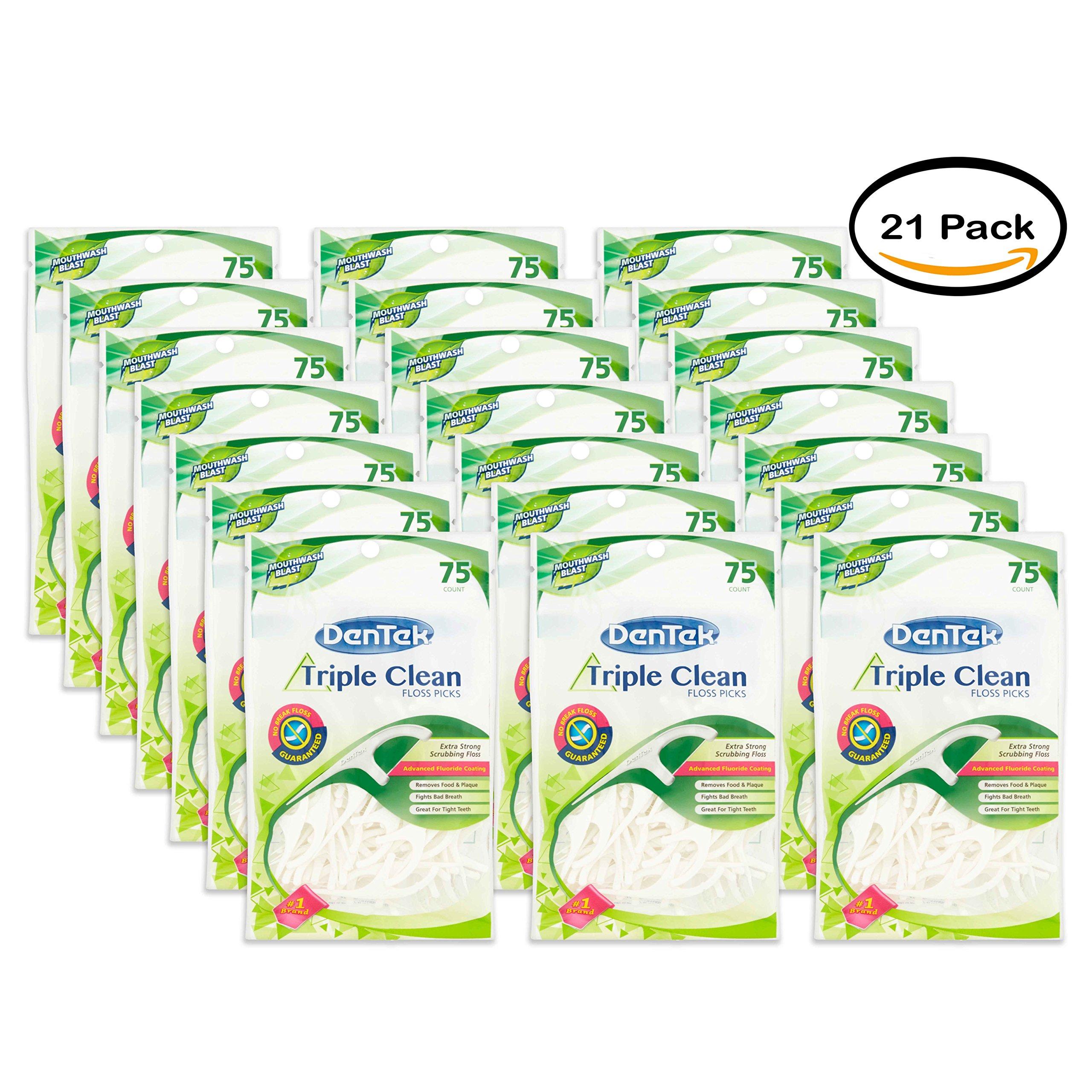 PACK OF 21 - DenTek Triple Clean Fresh Mint Floss Picks, 75 count