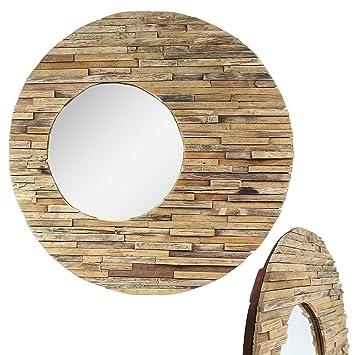 Amazonde Runder Spiegel Mit Rahmen Aus Holzstücken Sonne