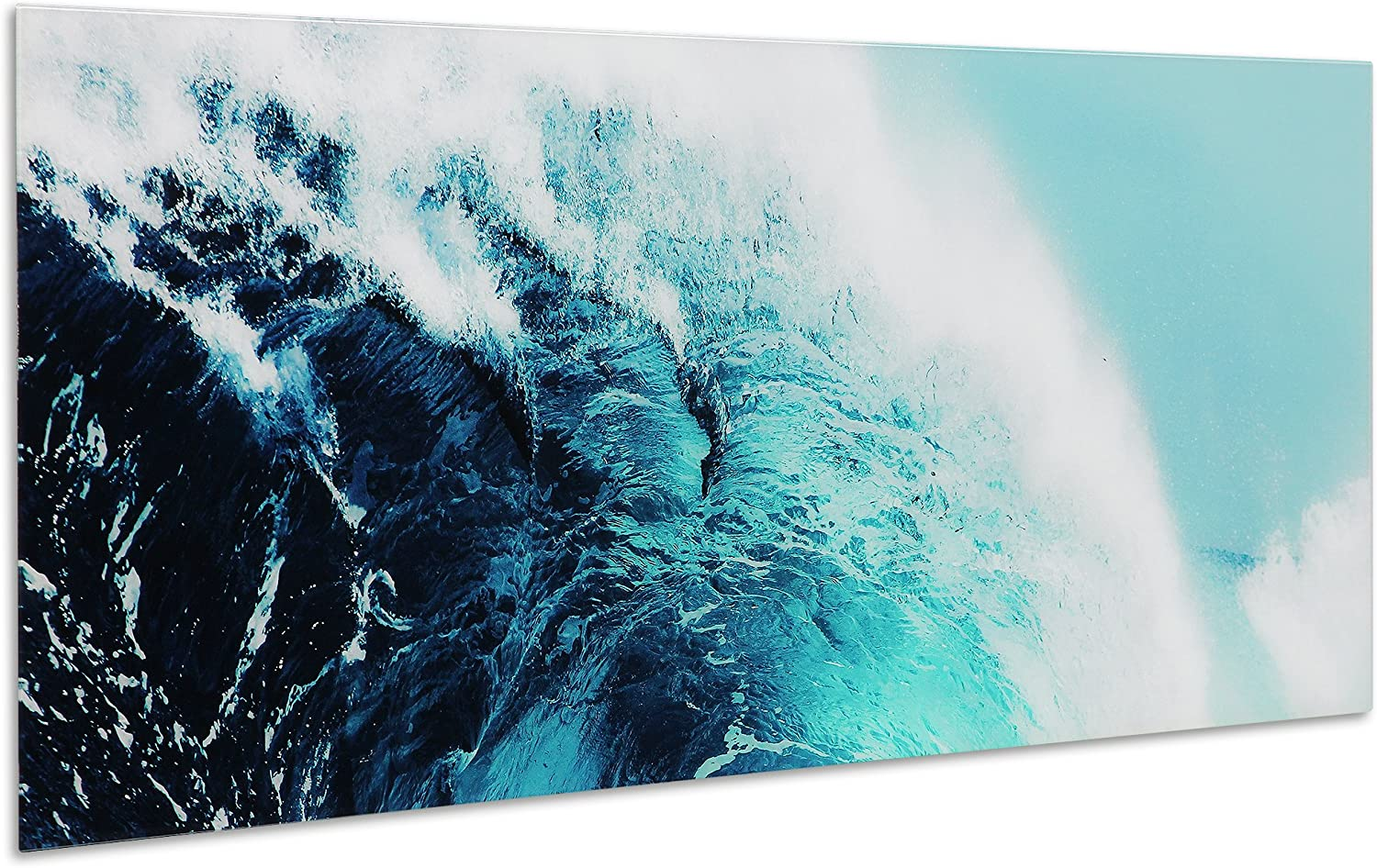 Amazon Com Empire Art Direct Blue Wave 1 Frameless Free Floating Tempered Glass Panel Graphic Teal Sea Wall Art 63 X 24 X 0 2 Ready To Hang Posters Prints