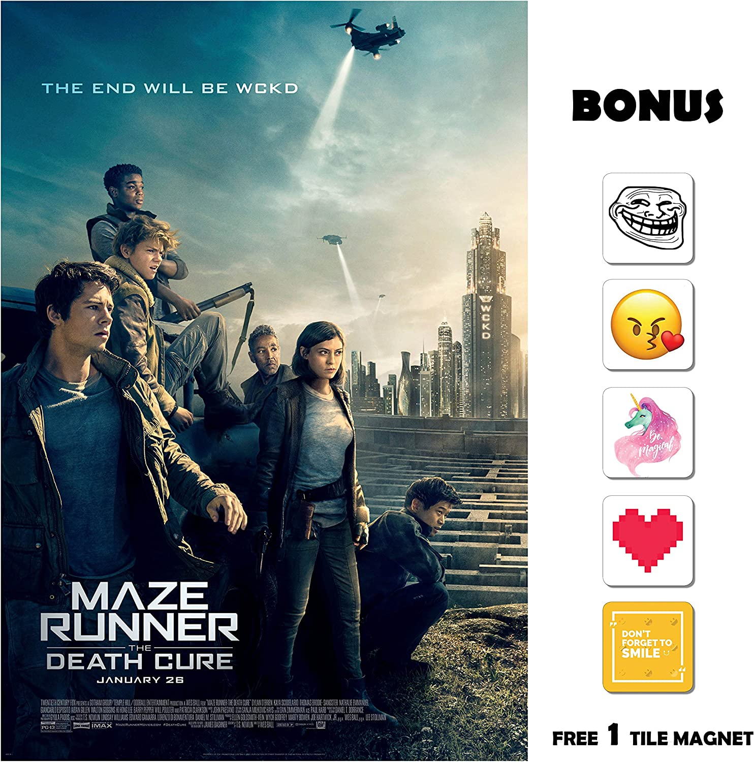 Amazon Com Movie Poster Maze Runner The Death Cure 2018 Wckd 13 In X 19 In Flyer Borderless Free 1 Tile Magnet Posters Prints