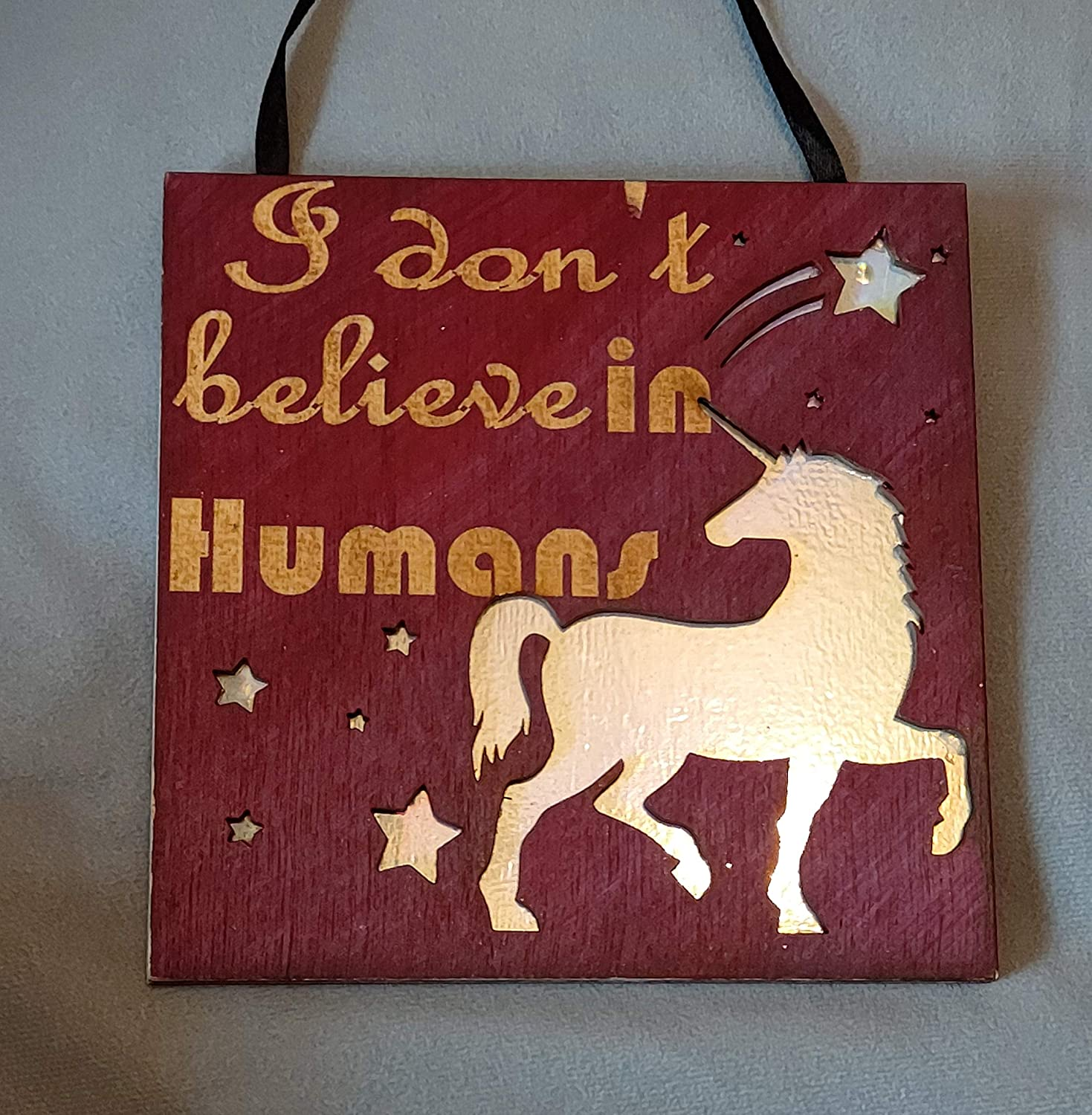 I dont believe in humans Wooden engraved unicorn plaque with a second sparkly layer