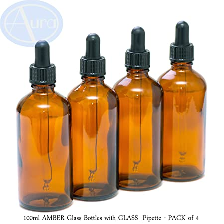 4er-PACKUNG - 100ml BRAUNGLAS-Flaschen mit GLAS-Pipetten. Ätherisches Öl / Verwendung in Aromatherapie