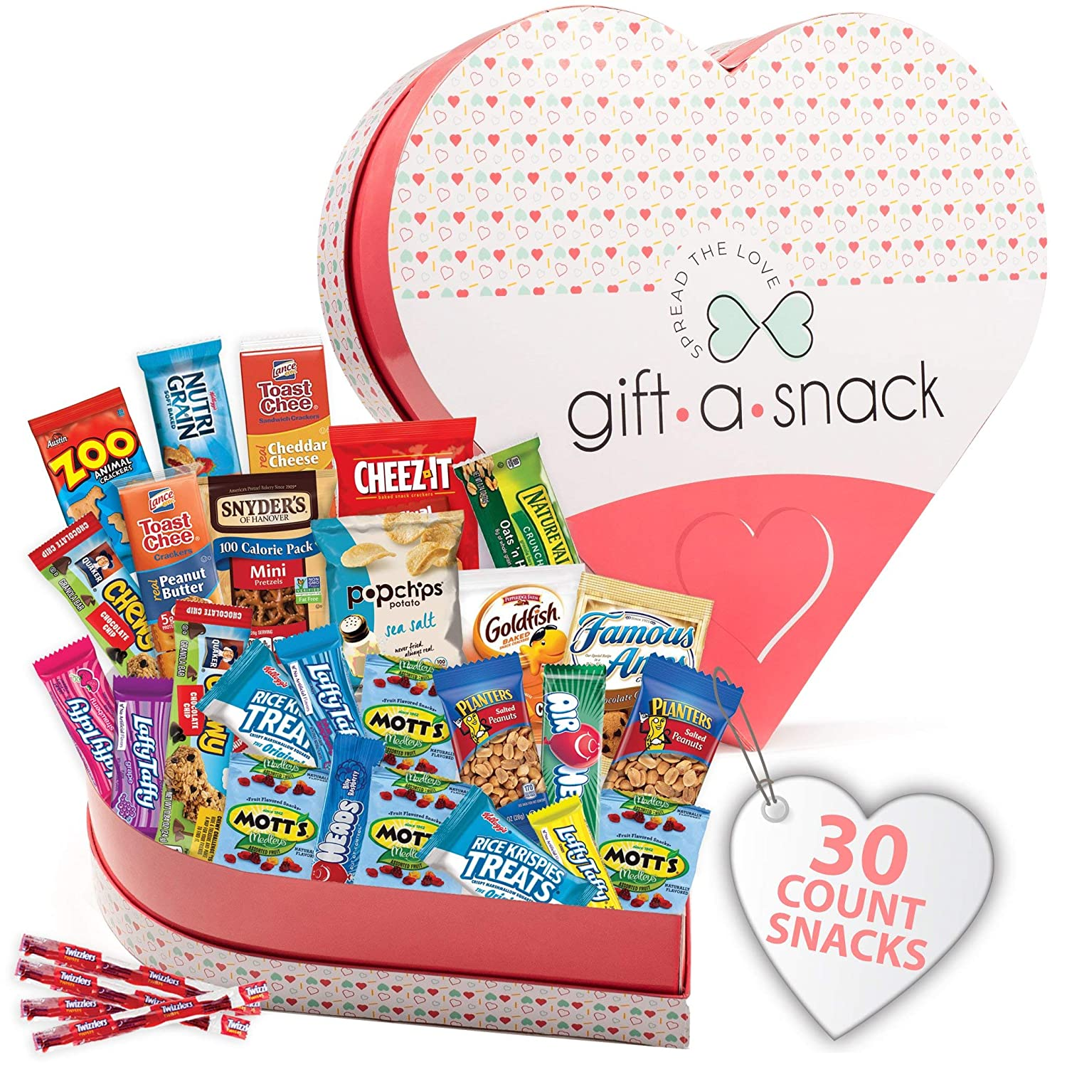Heart Shaped Snack Box Variety Pack (30 Count) Candy Gift Basket - College Student Care Package, Prime Food Arrangement Chips, Cookies, Bars - Ultimate Birthday Treat for Women, Men, Adults, Teen, Kid