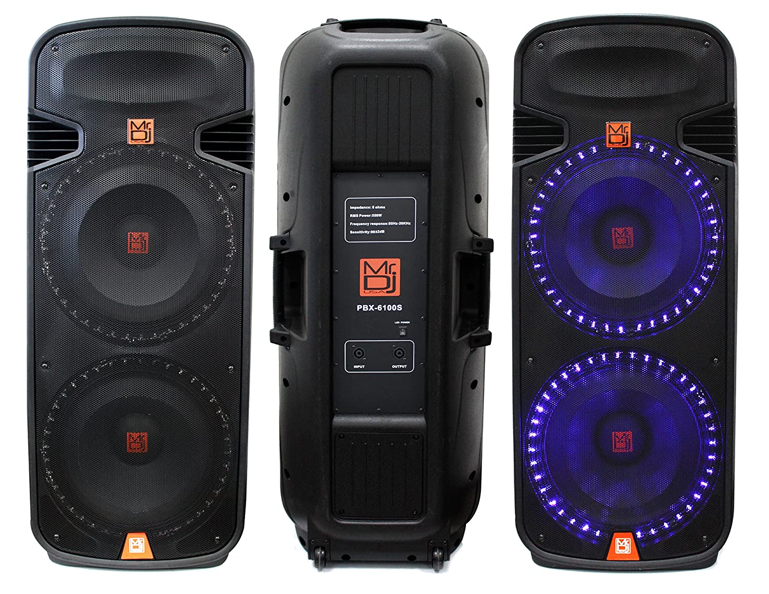 Mr Dj Pbx6100s Dual 15 Inch 2 Way 5000 Watt Passive Amplifier Using Tda2009a 12 15x2 Audio Speaker With Built In Accent Led Lighting Musical Instruments