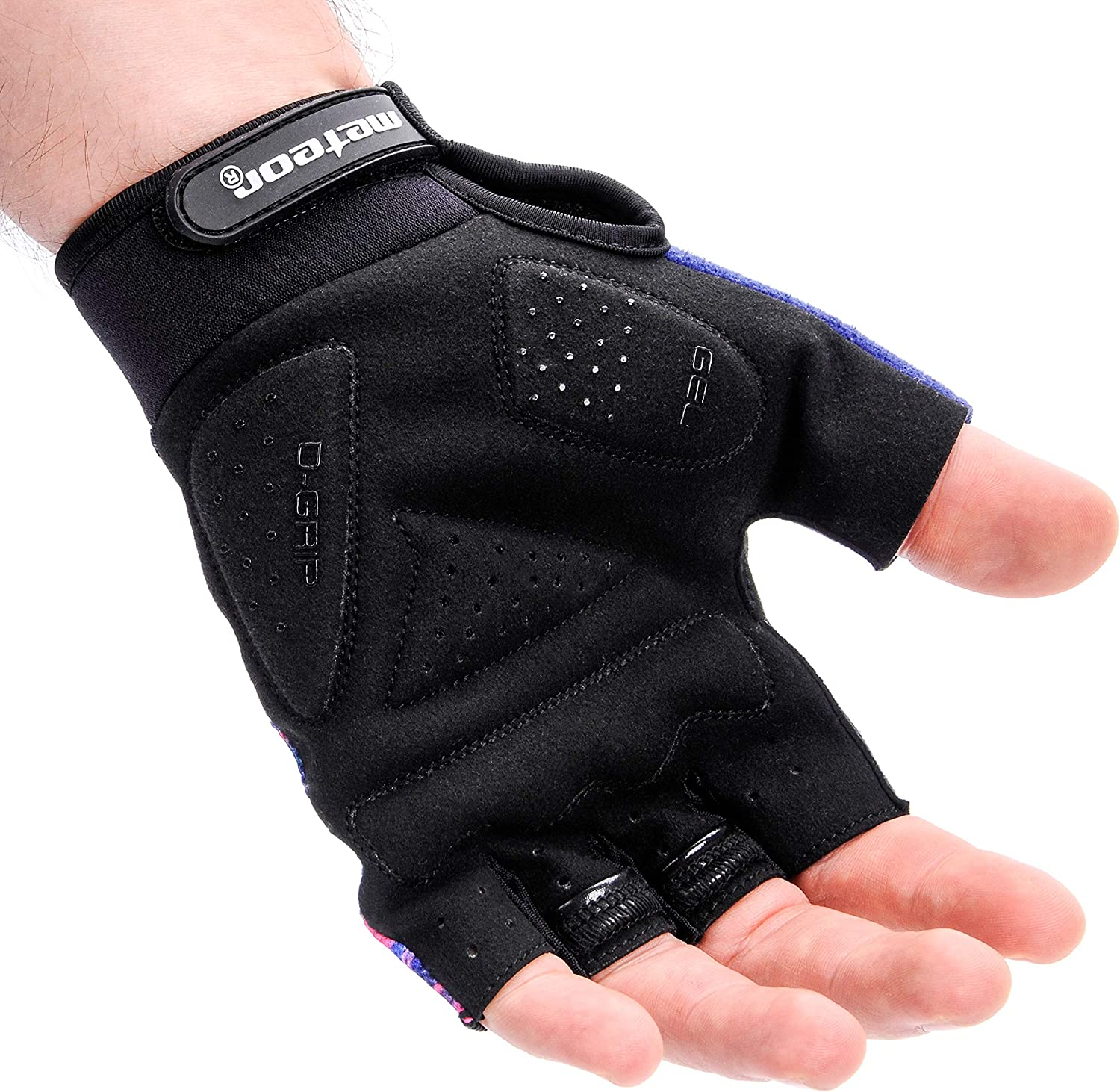 meteor Cycling Gloves Gym Antislip Grip Adjustable Bike Racing Bicycle Bmx Mtb Weight Lifting Fitness Light Silicone Pad Accessories Riding Men Women Kids Children