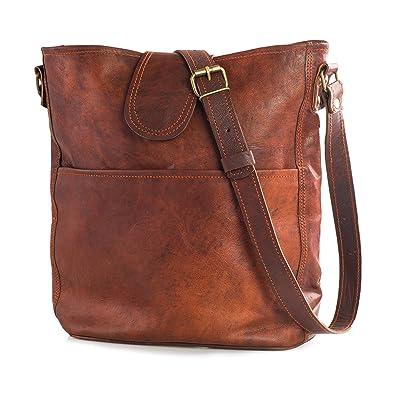 1211f116f81486 Nama 'Nicola' Umhängetasche Echtes Leder Shopper für Damen Vintage Look  Handtasche Beutel Tasche Schultertasche