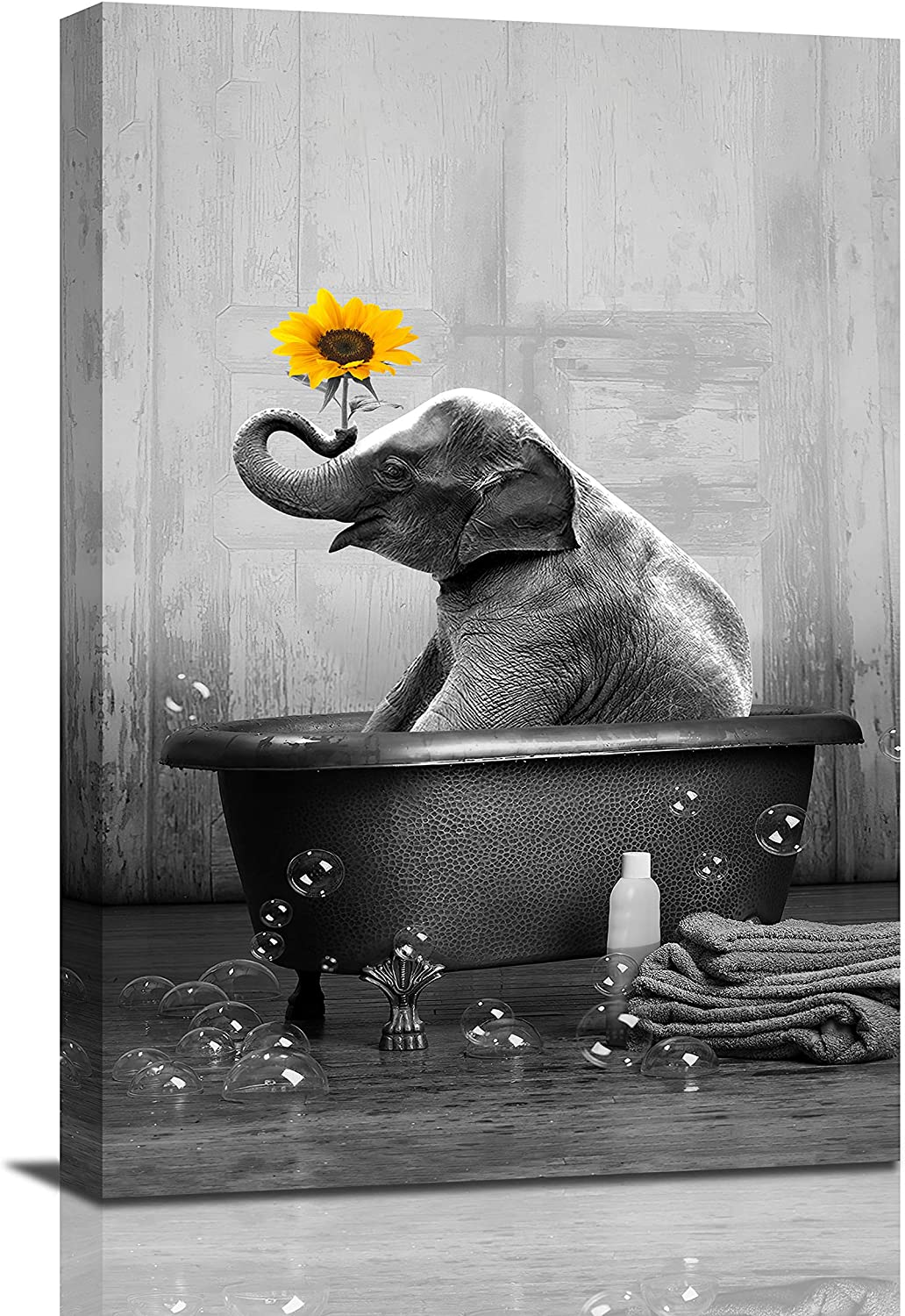 Sunflower Elephant Canvas Wall Art Funny Animal Elephant Bathing In The Bathtub Wall Decor Black and White Paintings Pictures Framed Modern Artwork For Bathroom Living Room Bedroom 12x18 Inch
