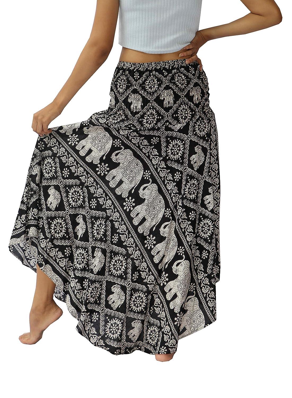 NaLuck - Faldas largas estilo boho hippie con impresión de flores ... 7f911db9d314