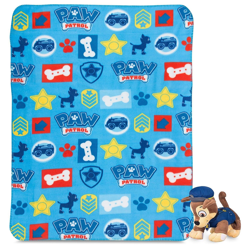 Kids Paw Patrol Fleece Throw Blanket /& Chase Cuddle Plush Toy