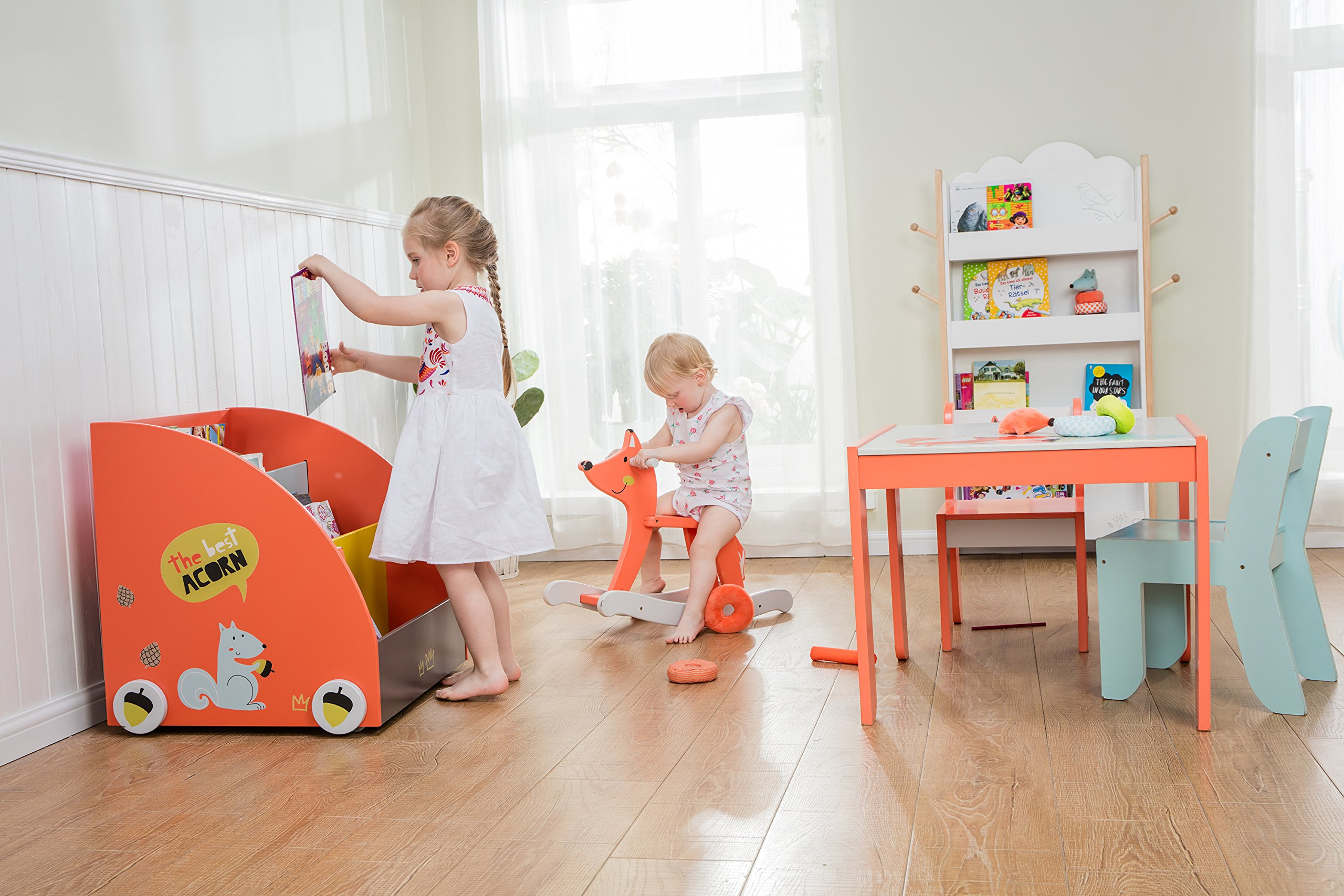 Labebe Kid Bookshelf With Wheels Orange Pine Wood For 1 Year UpBaby Child Toddler Book Rack