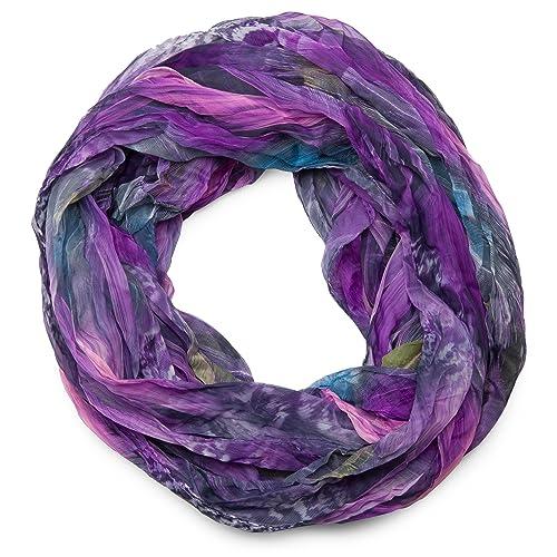 styleBREAKER patrón de la pluma del estilo del batik bufanda tubo de bucle, el desplome y la arruga,...