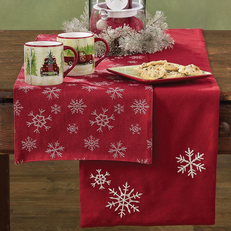 White Snowfall Reversible Red Table Runner | ChristmasTablescapeDecor.com