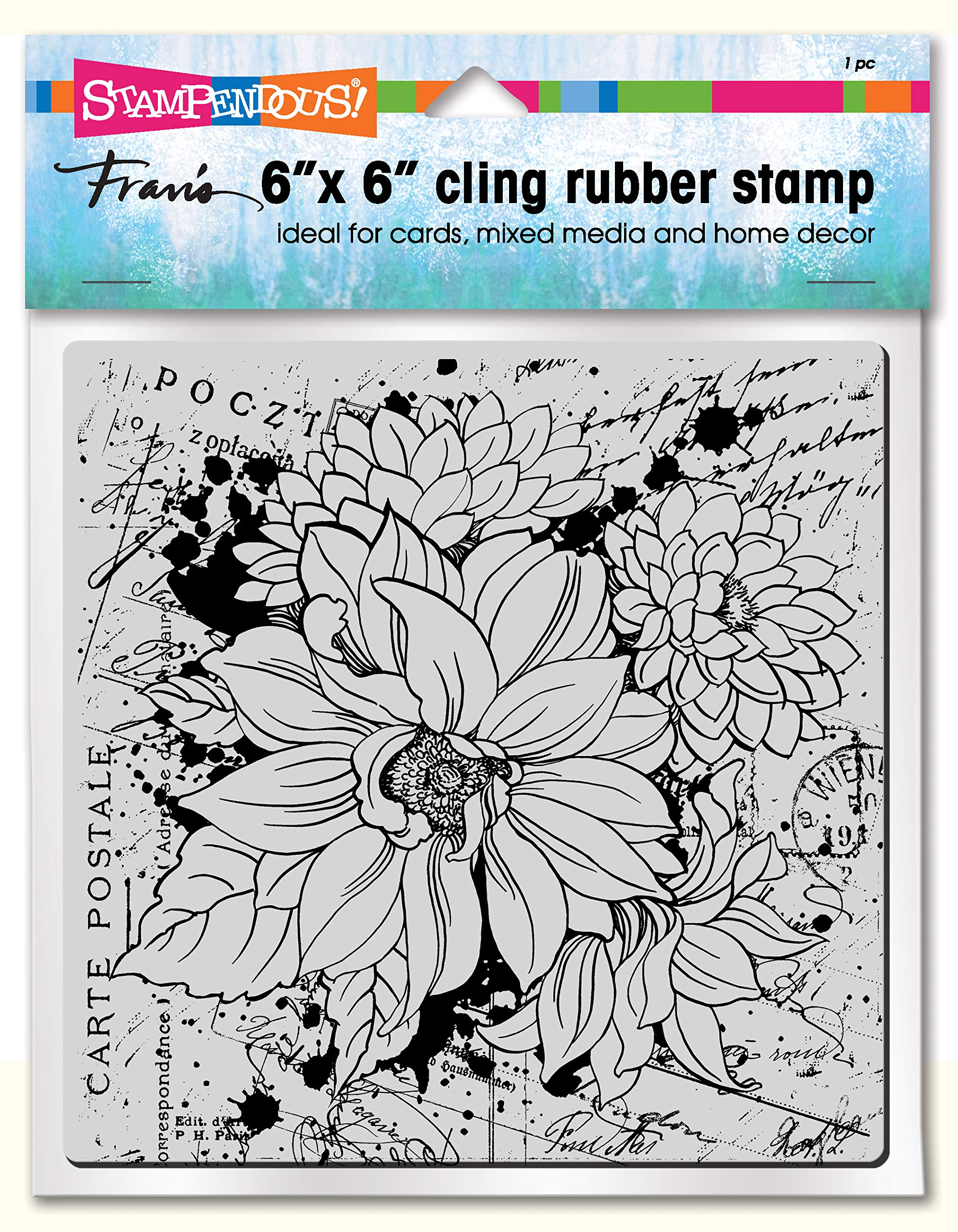 Stampendous 6CR011 Cling Rubber Stamp, Dahlia Collage